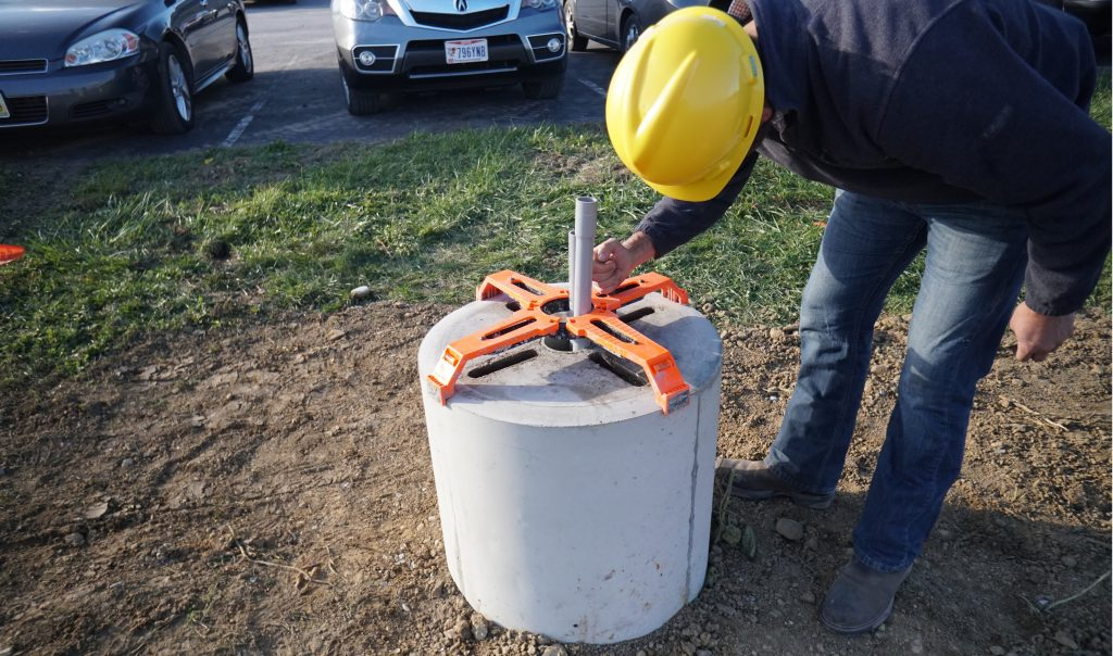 Setting up the LPB light pole base anchoring system